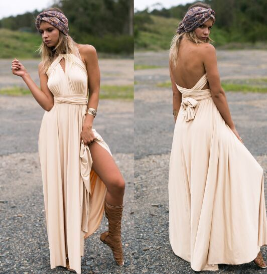 Peach Infinity Maxi Wrap dress Long Gown Dress Multiway Bridesmaids Convertible  Dress a458f98fd943