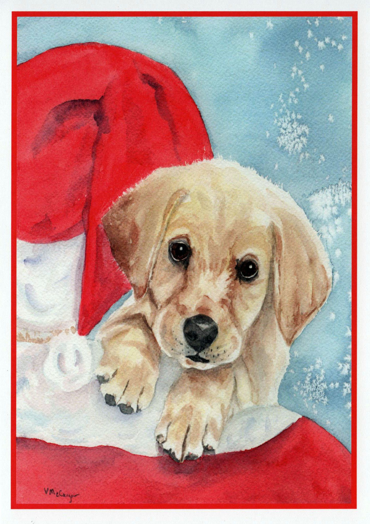 Christmas Yellow Labrador Retriever and Santa Card. Pet Christmas ...