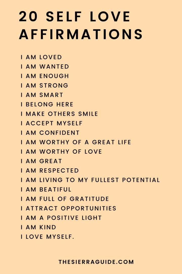 20 Self Love Affirmations