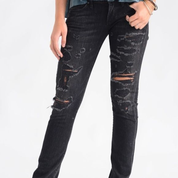08f63d0a0fcf A Gold E Chloe Charcoal Destroyed Skinny Jeans Dark grey destroyed jeans by  L.A. based designer A Gold E. Perfect with a black shirt or sweater and  leopard ...