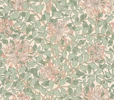 Honeysuckle, a feature wallpaper from Morris & Co, featured in the Morris & Co William Morris collection.