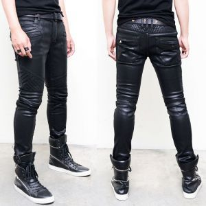 Wax Coated Extra Slim Quilting Biker-Jeans 198