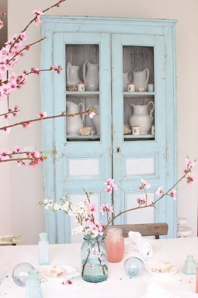 light blue and pink