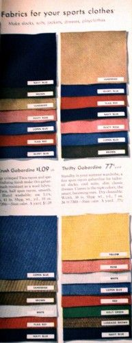 """1940s Fabrics and Colors in Fashion: 1944 sporting fabrics- gabardine, twill and textured """"butcher"""" linen. Solid colors """" Navy blue, brown, red, beige, Dusty rose pink, yellow, kelly green, copen blue and white. #1940sfashion #vintage http://www.vintagedancer.com/1940s/1940s-fabrics-colors-fashion/"""
