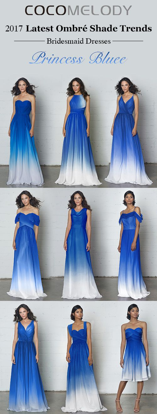 Latest Ombre Shade Trends Princess Blue Bridesmaid Dresses Bridesmaiddre Brides Maid Dresses Blue Blue Bridesmaid Dresses Short Bridesmaid Dresses Long Blue