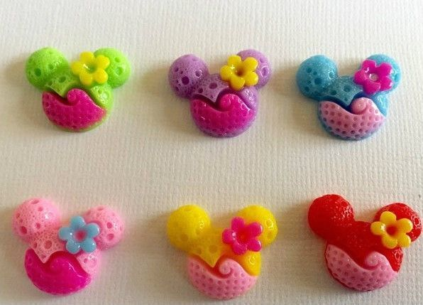 10 Piece Mixed Two-Tone Mouse, Flower Cabochon - Kawaii Decoden Flatback Resin (TDK-C1259)
