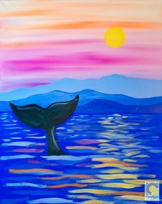 Whale Tail Painting Idea At Sunset Painting Tutorial Art Ideas