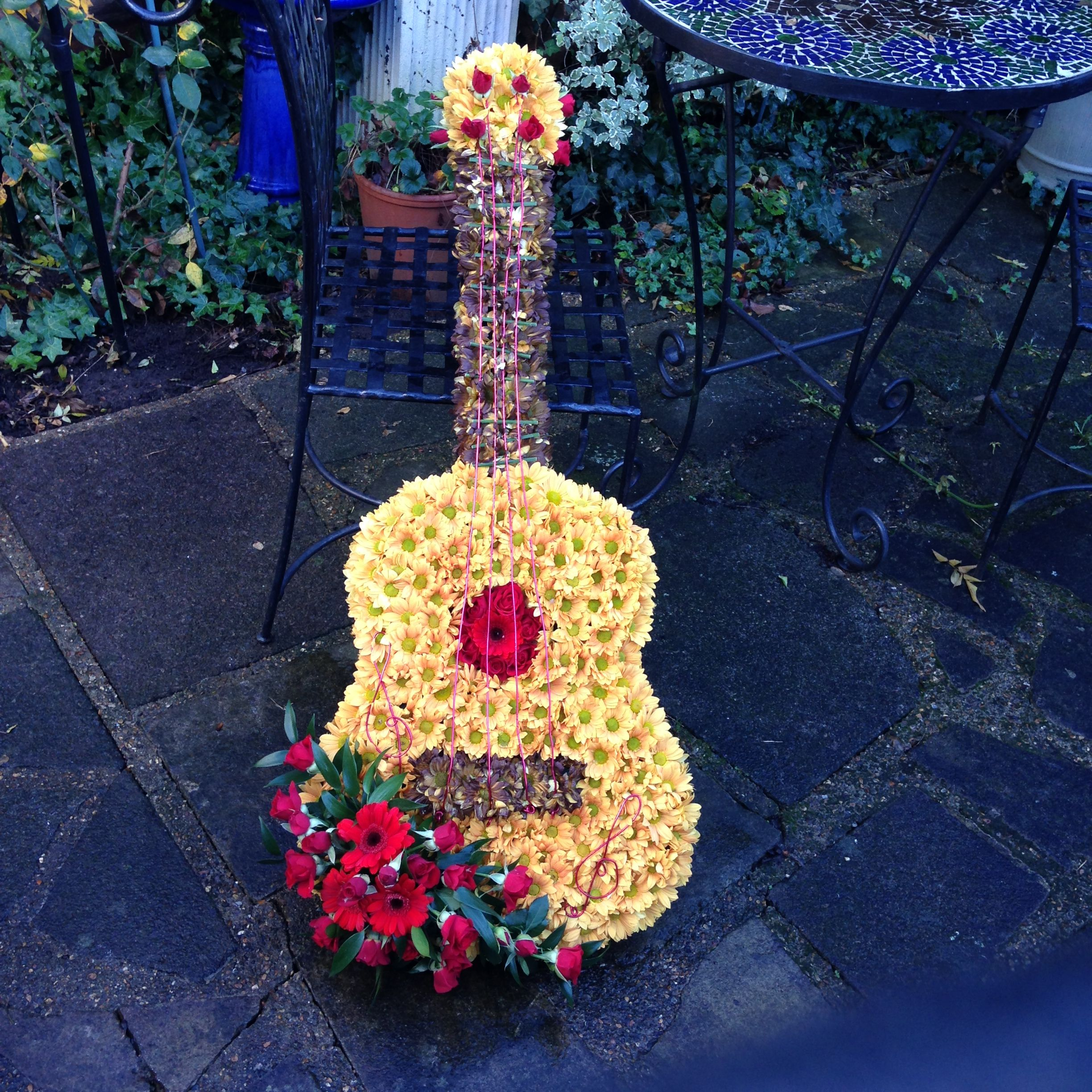 Guitar funeral tribute sympathy flowers pinterest funeral flower guitar funeral tribute izmirmasajfo Images