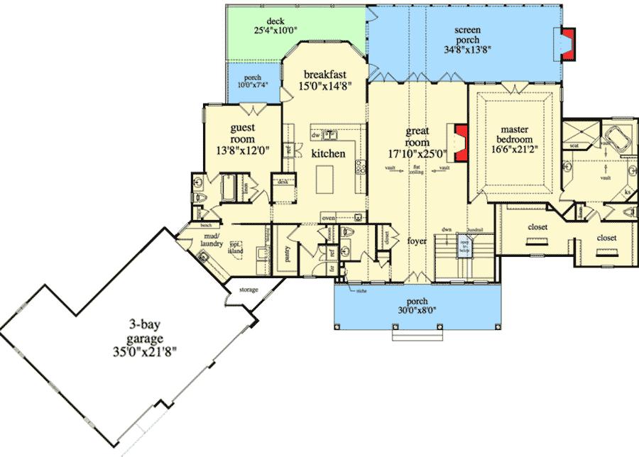 plan 29876rl mountain ranch with walkout basement floor