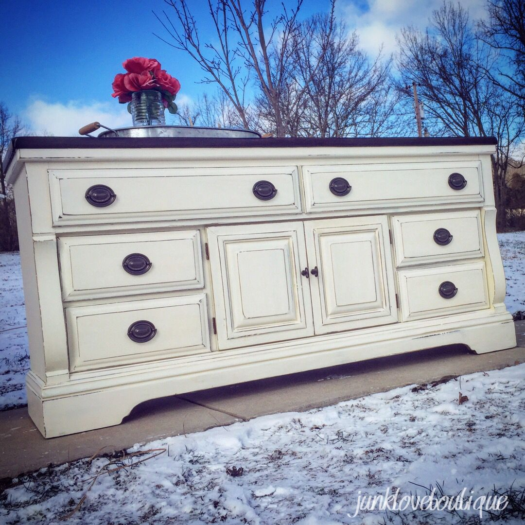 Off White Dresser With Dark Stained Top And Oil Rubbed Bronze