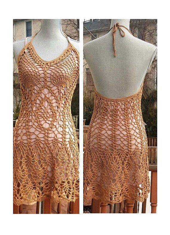 Coffee Mocha halter dress/ crochet beach cover up for large bust ...