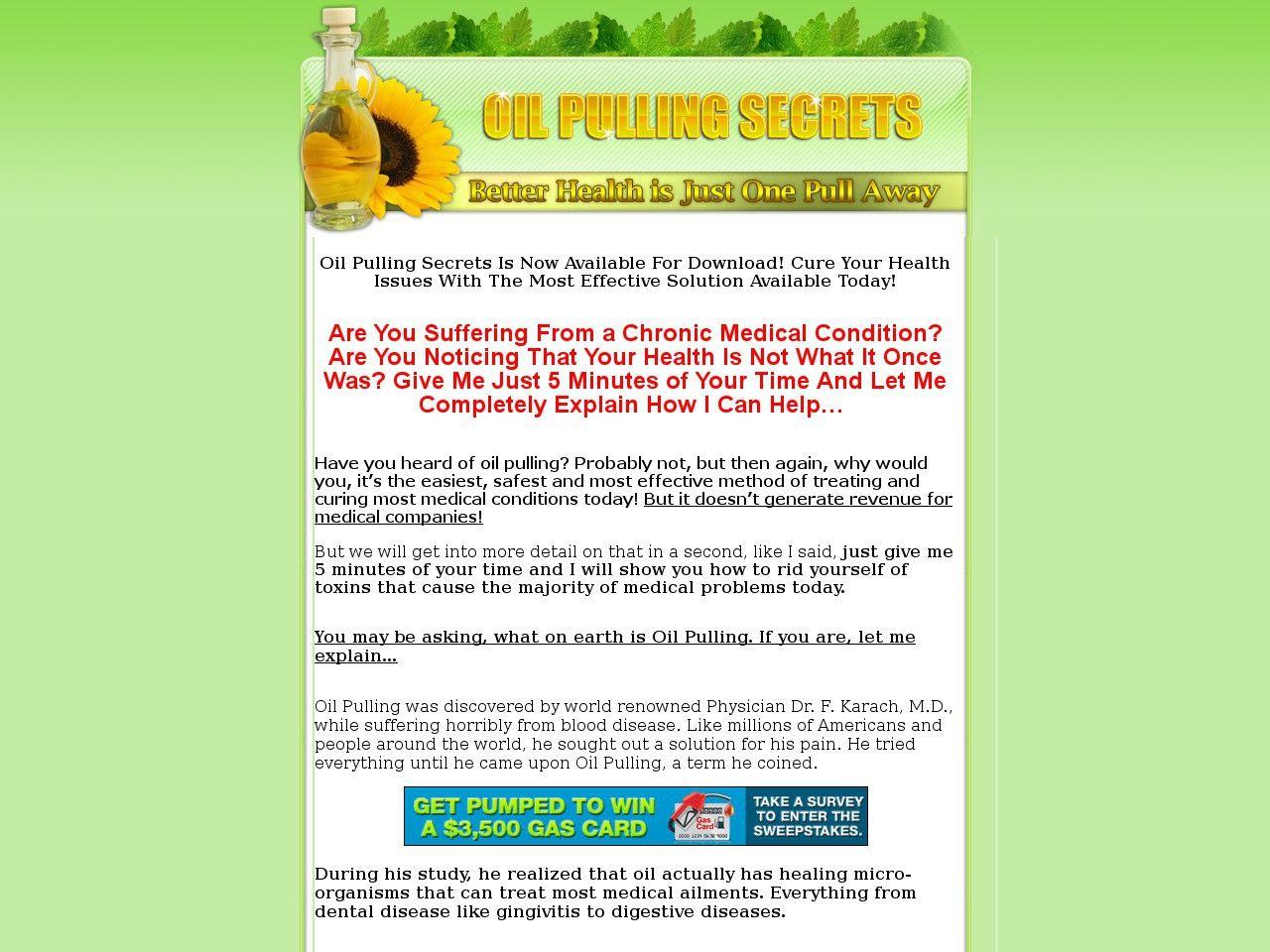 Try Oilpulling Secrets Guide Now- http://www.vnulab.be/lab-review/oilpulling-secrets-guide