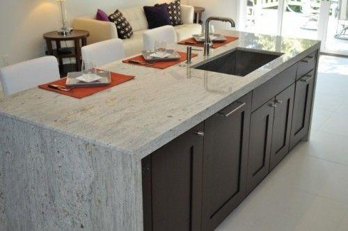 Granite Waterfall Island White Granite Countertops Kitchen