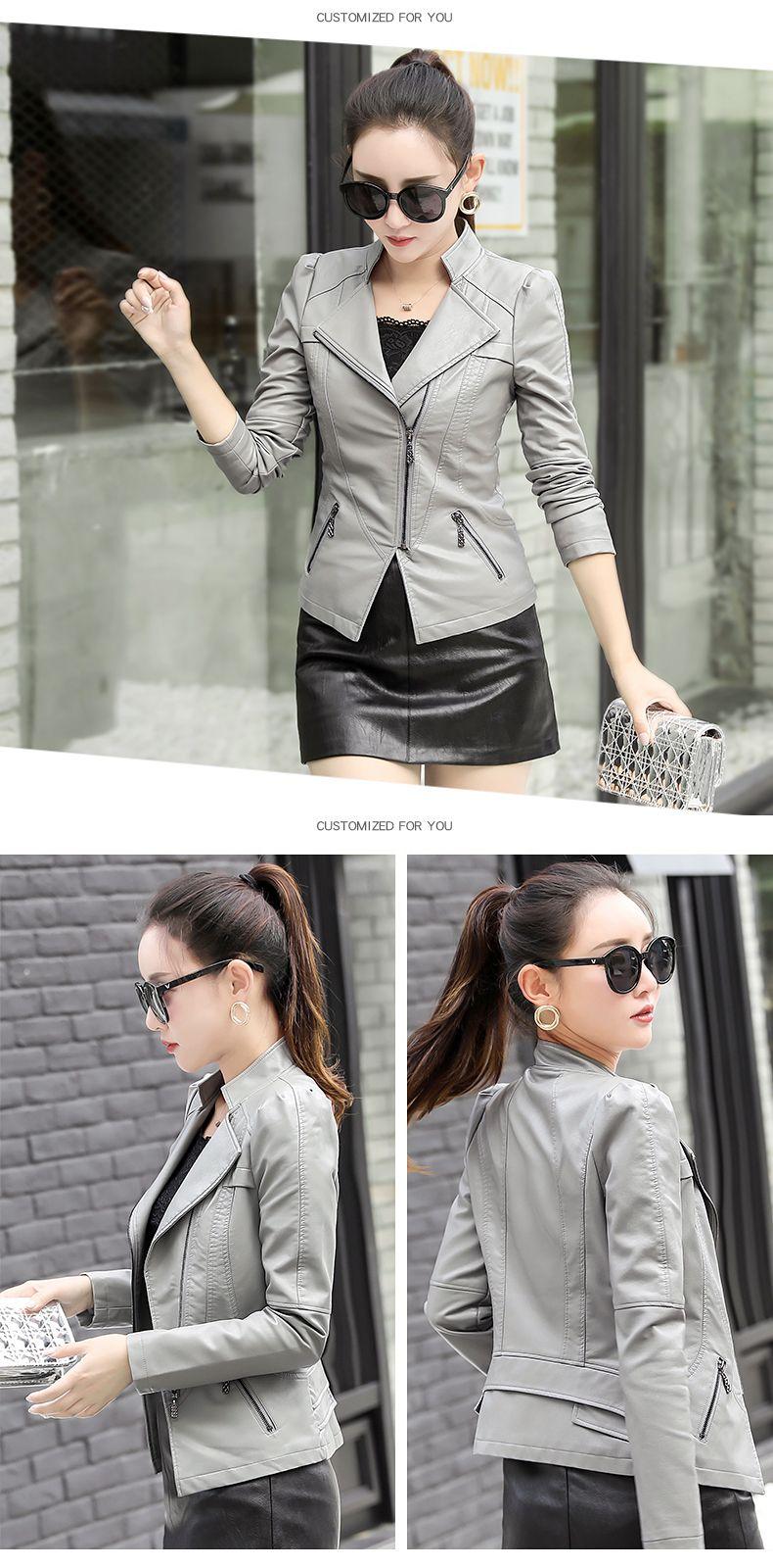 Korean Short PU Leather Jacket Spring New 5XL LongSleeve