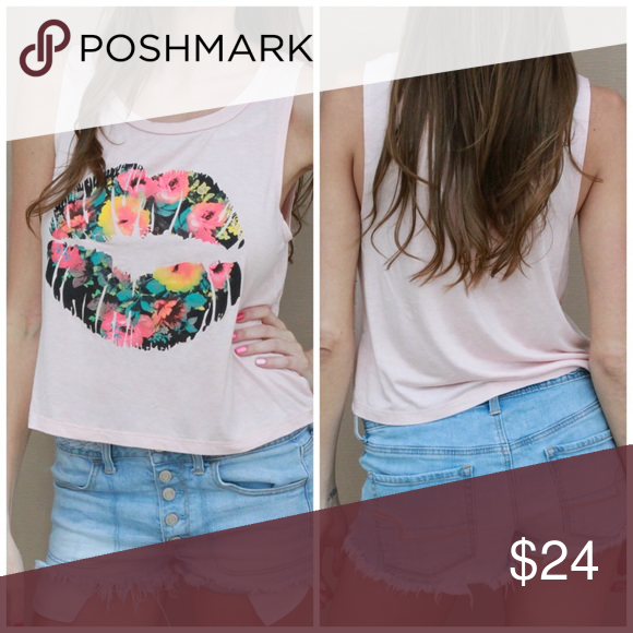 Pucker Up Pink Top This light pink top features multi-colored flowers on a pair of lips Tops Tank Tops