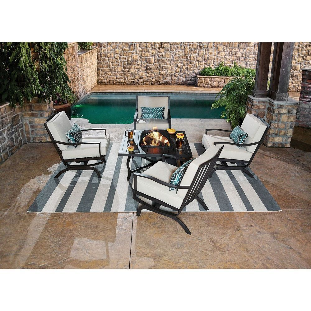 5 Pc New Patio Outdoor Dining Chat Wood Burning Fire Pit Table