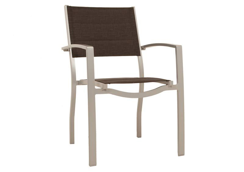 Gemini Padded Sling Chair Silver Black Odyssey Outdoor