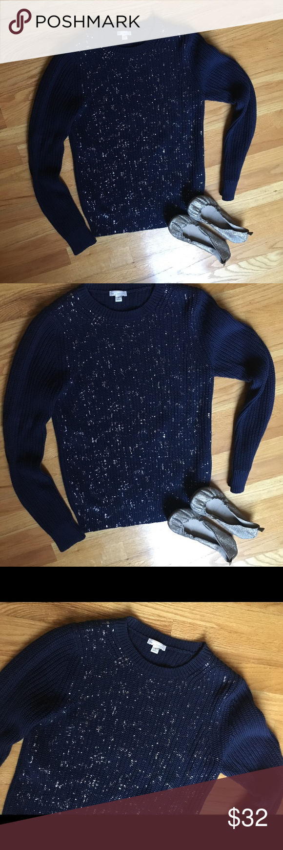 GAP Classy Knit Navy & Gold Sweater w/ FREE shoes | Gold sweater ...