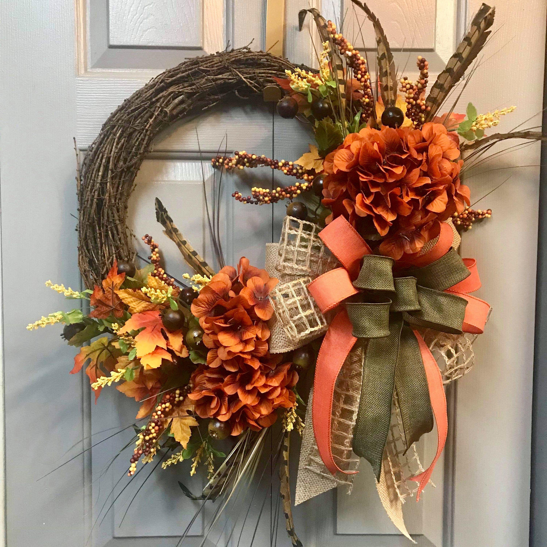 Farmhouse Fall Grapevine Wreath, Front Door Wreath, Rustic