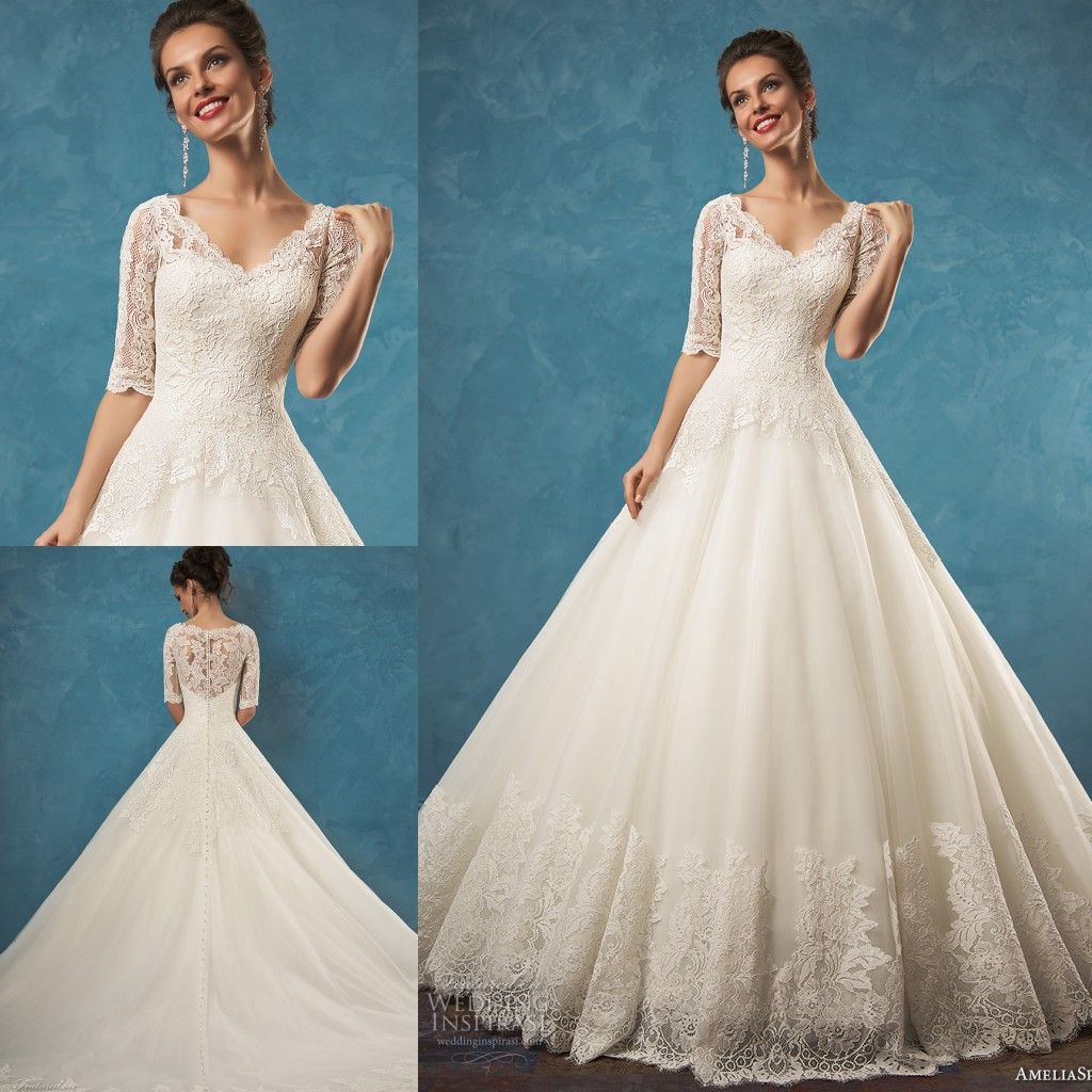 Amelia Sposa 2017 Half Sleeve Illusion Sheer A Line Ball Wedding Dr ...