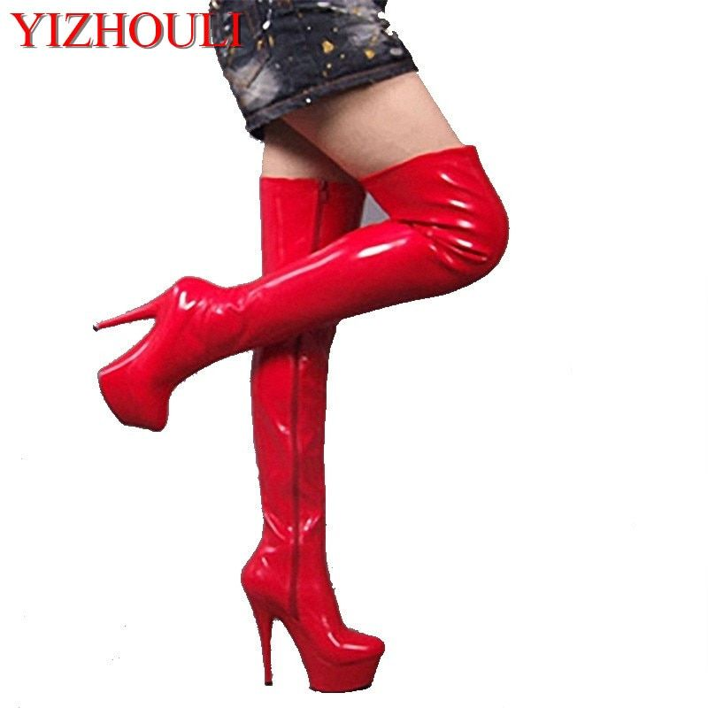 601f825037a side zipper full red over-the-knee 15 cm high heel boots pole dancing