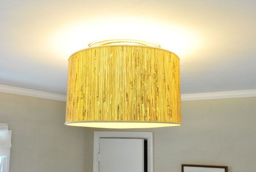 Making A Ceiling Light With A Diffuser From A Lamp Shade Young House Love Diy Light Fixtures Diy Drum Shade Lamp Shade