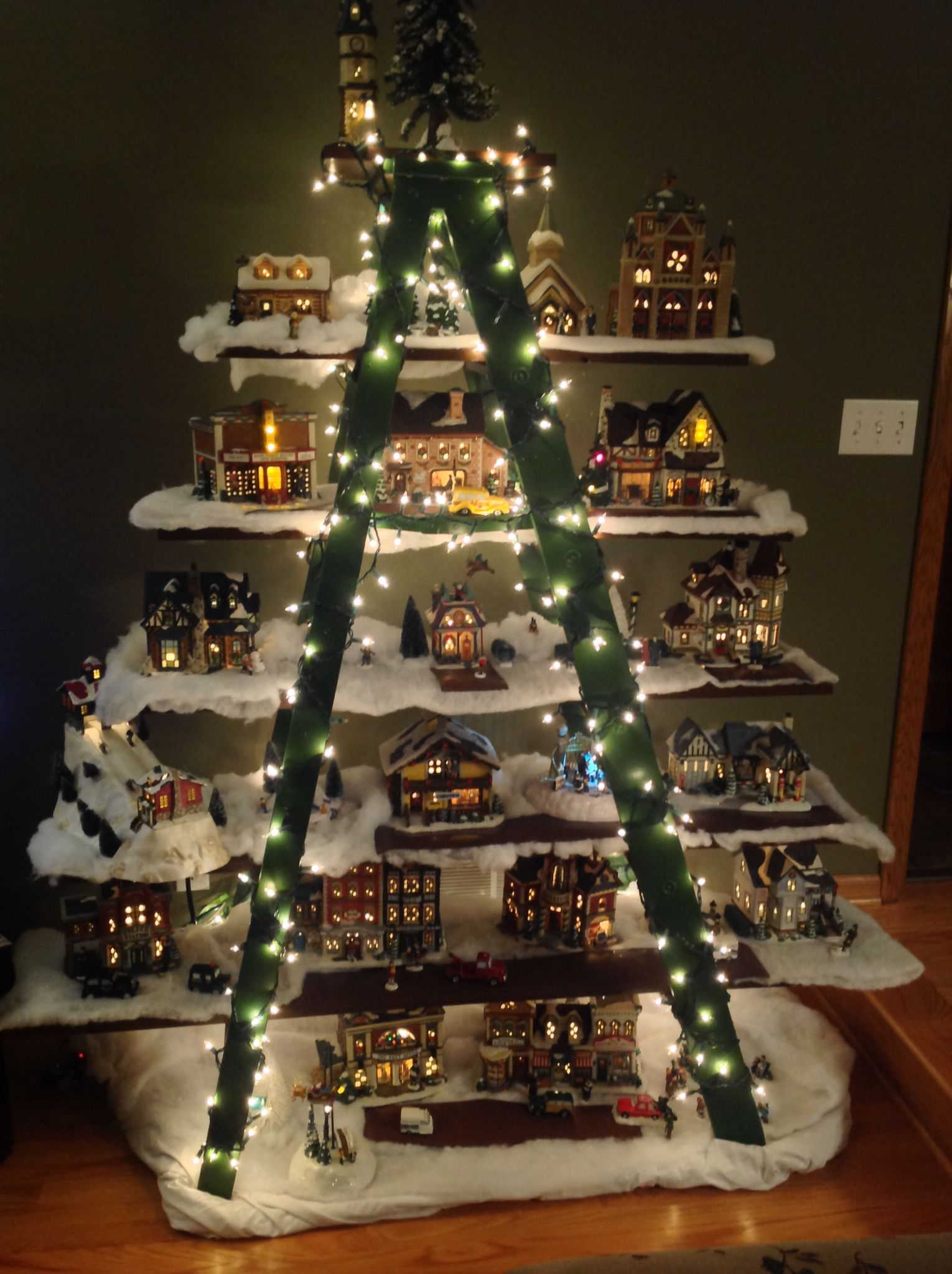 Ladder christmas tree for holiday houses christmas villages