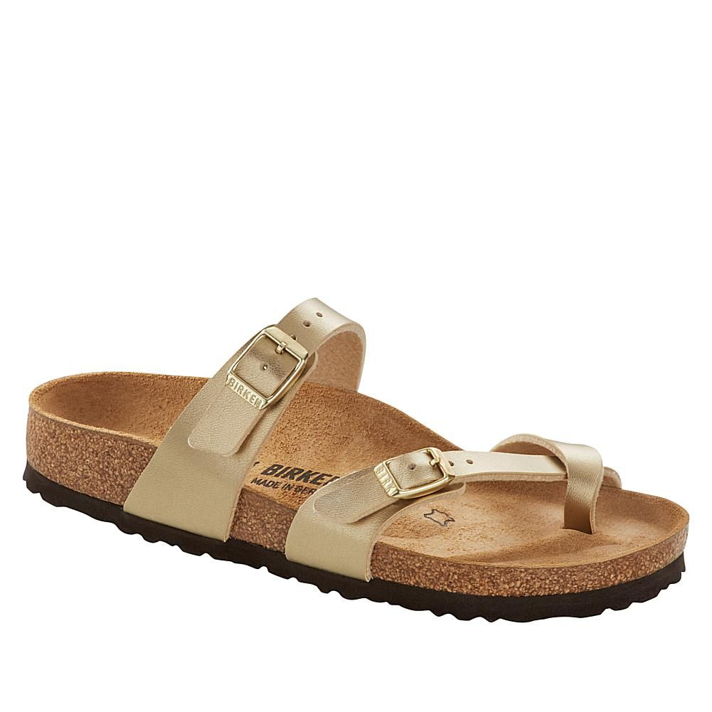 Birkenstock Mayari Toe-Loop Comfort Sandal Get das original , the iconic Birkenstock sandal. It's fashion distilled to simplicity, yet bold and hip, and is being worn with everything from skinny jeans to business suits. The more you wear them, the more comfortable and custom they become. Good to Know