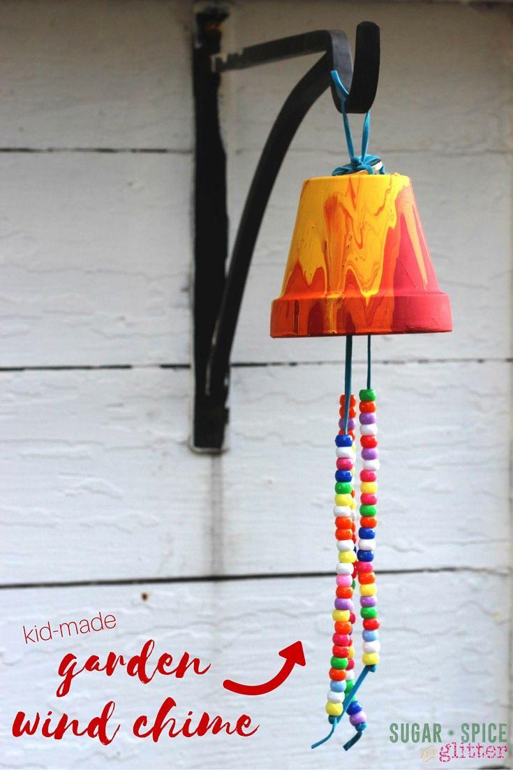Homemade garden art ideas - Kid Craft Idea Homemade Garden Wind Chime A Sweet Gift And A Great Way