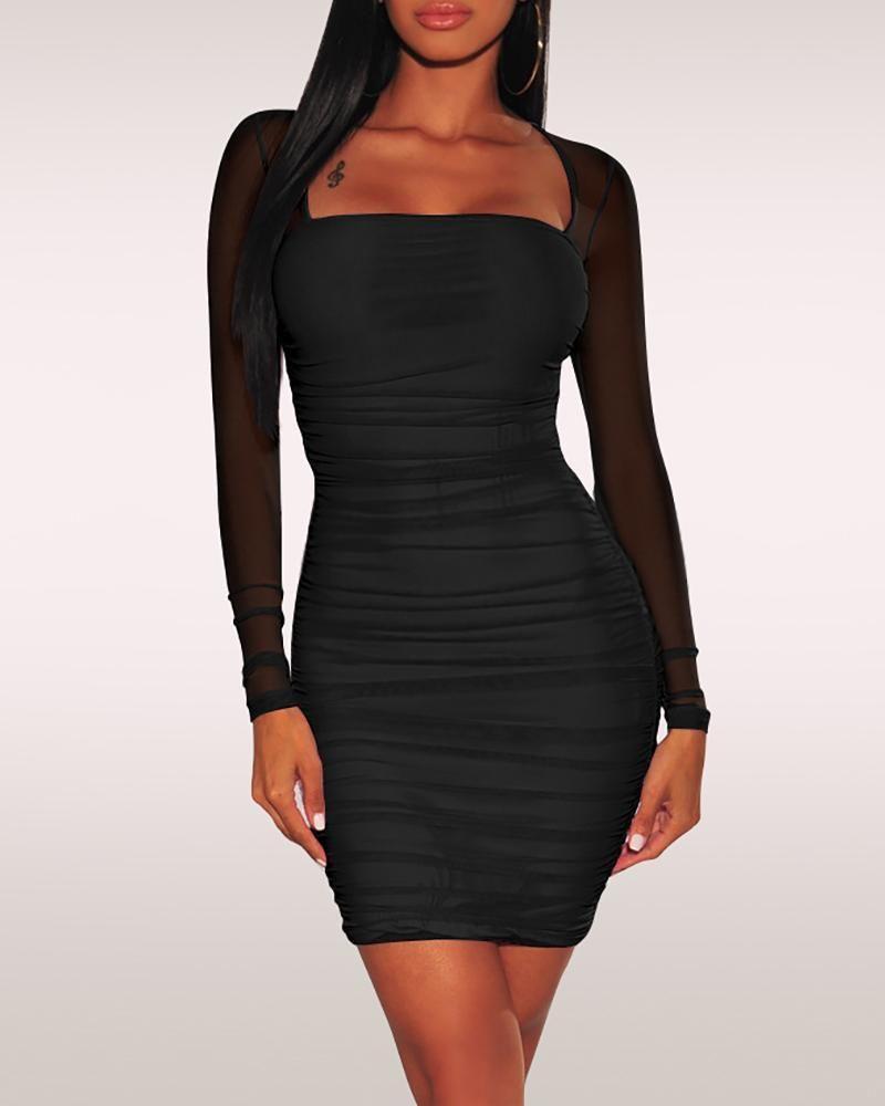 Solid Mesh Sleeve Bodycon Dress Bodyconest Mini Dress With Sleeves Bodycon Dress Ruched Bodycon Dress [ 1000 x 800 Pixel ]