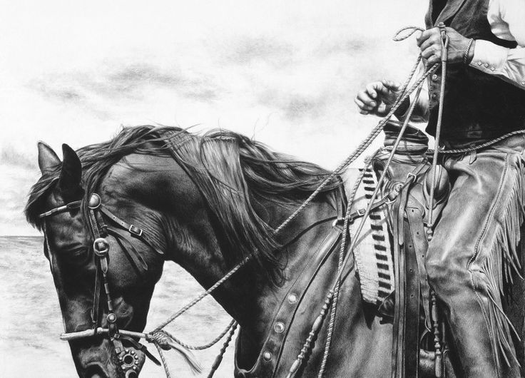 pencil drawing wild horses cowboy pencil drawings
