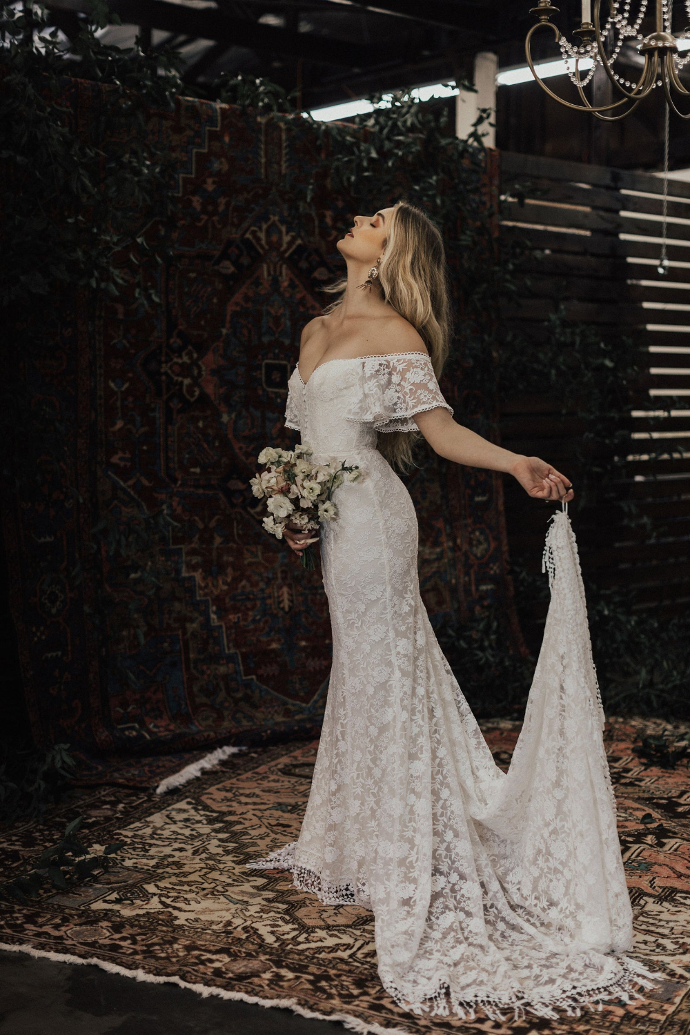 Callista Bohemian Wedding Dress. OFF SHOULDER lace boho wedding gown with FRINGE hem and buttons. Made to Measure in California. size 0-18 14