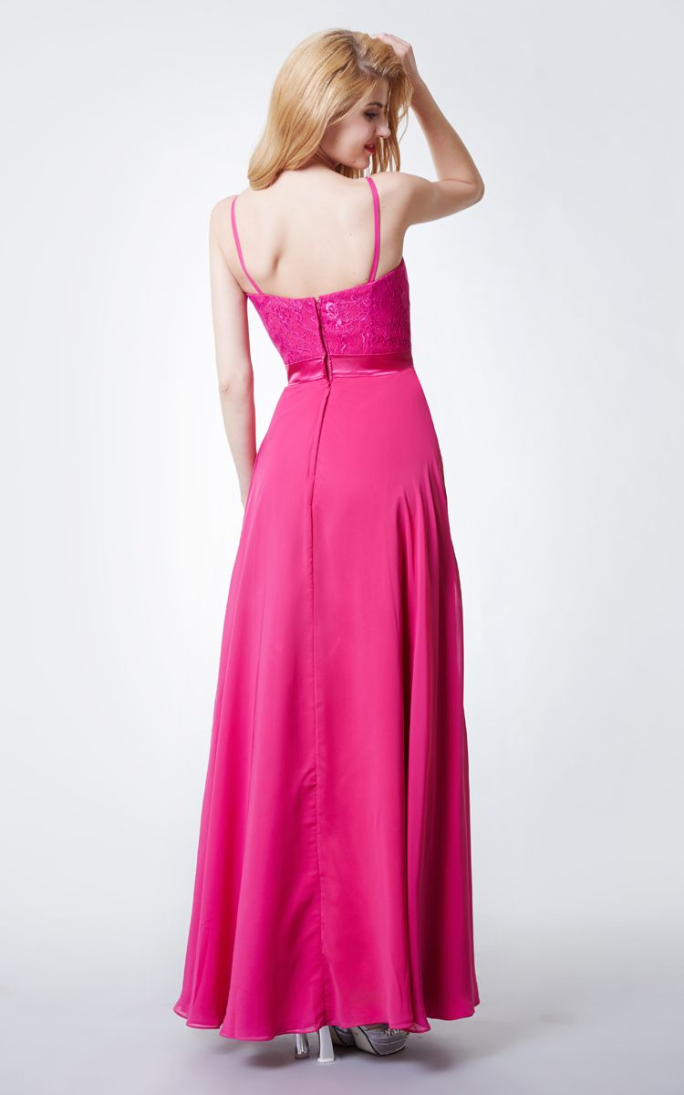 Us u lace bodice chiffon skirt long bridesmaid dress