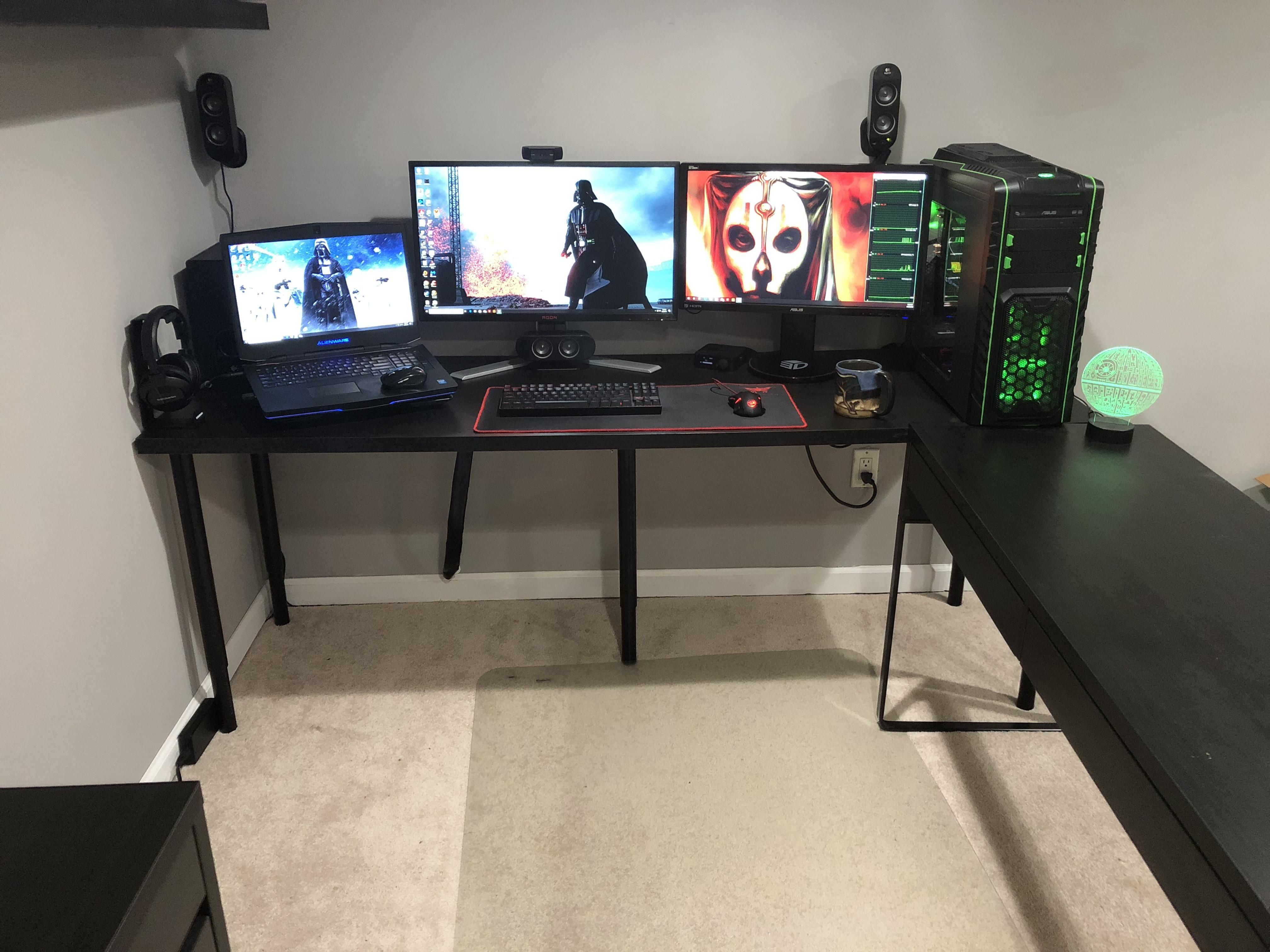 Update Cleaned Up The Wires And Mounted Front Speakers To The Wall Now Just Missing A Tv Above My Monitors Laptop Gaming Setup Best Gaming Setup Gaming Setup