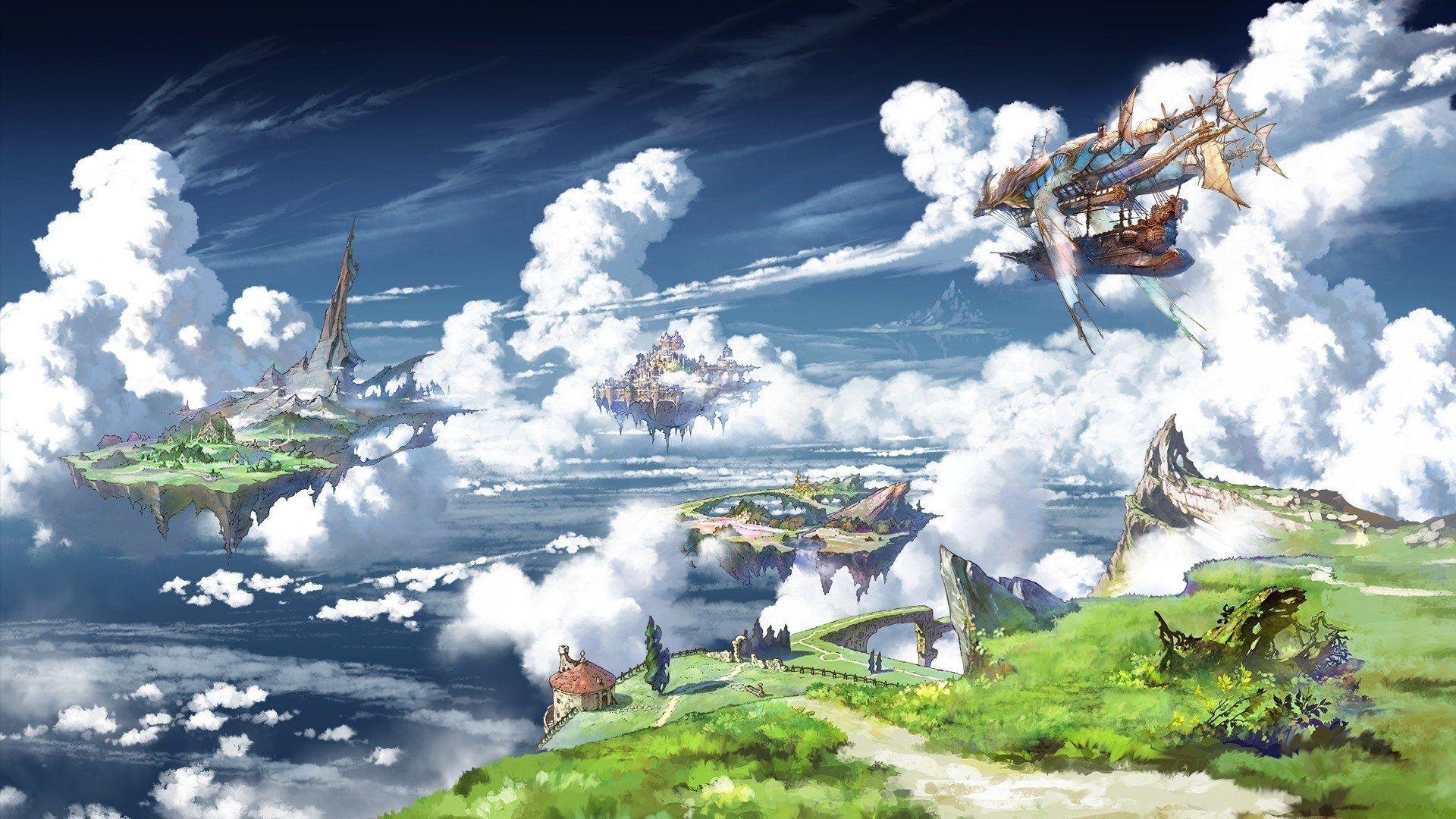 Anime Granblue Fantasy Sky Cloud Ship Floating Island