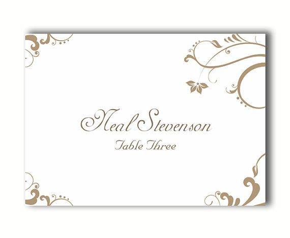 Printable Place Cards Wedding Place Card Template Elegant Gold Etsy Printable Place Cards Wedding Wedding Place Card Templates Wedding Place Cards