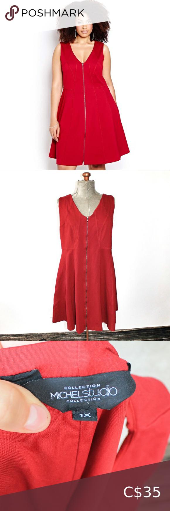 NWT Michel Studio Red Zip Up Dress Size 1X