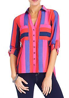 Multi-Stripe Roll Shirt