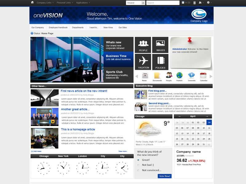 Best intranet designs and examples claromentis for Intranet portal design templates