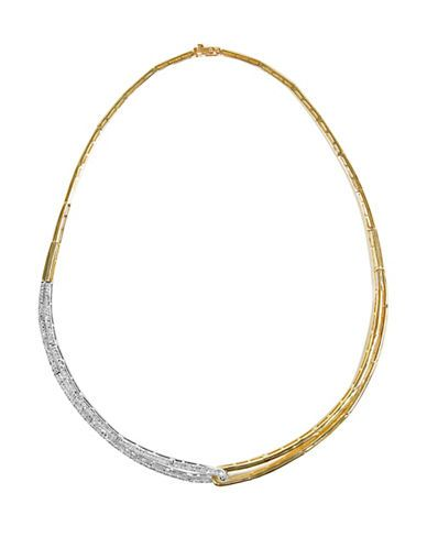 Effy Duo Diamond, 14K White and Yellow Gold Structured Collar Necklace