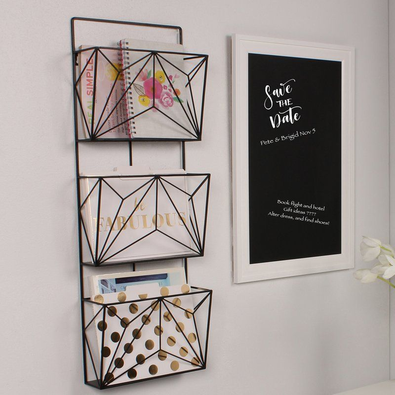 This 3 Pockets Hanging Wall Magazine Rack Combines Modern Home Decor With Functionality Th Office Wall Organization Wall Magazine Holder Kitchen Wall Hangings