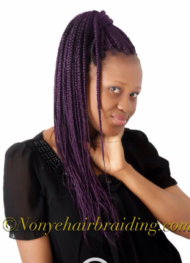 Box braids with purple hair -- Nonye Hair Braiding ...