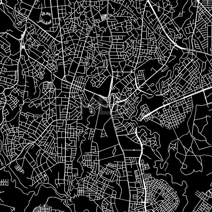 Addis Ababa Ethiopia Downtown Vector Map Ethiopia and Bridge