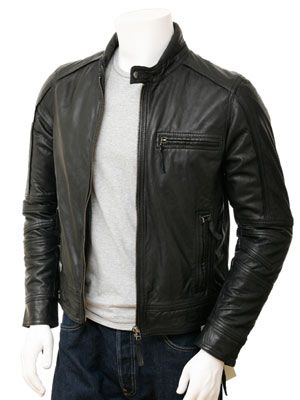 Men's Black Biker Leather Jacket: Kalingrad at Cainefashion.co.uk ...