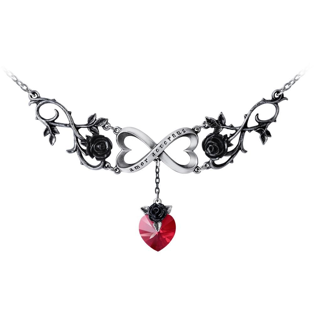 DYS-FC296BK Black Heart Gothic Roses Vine Leather Choker Necklace Jewelry