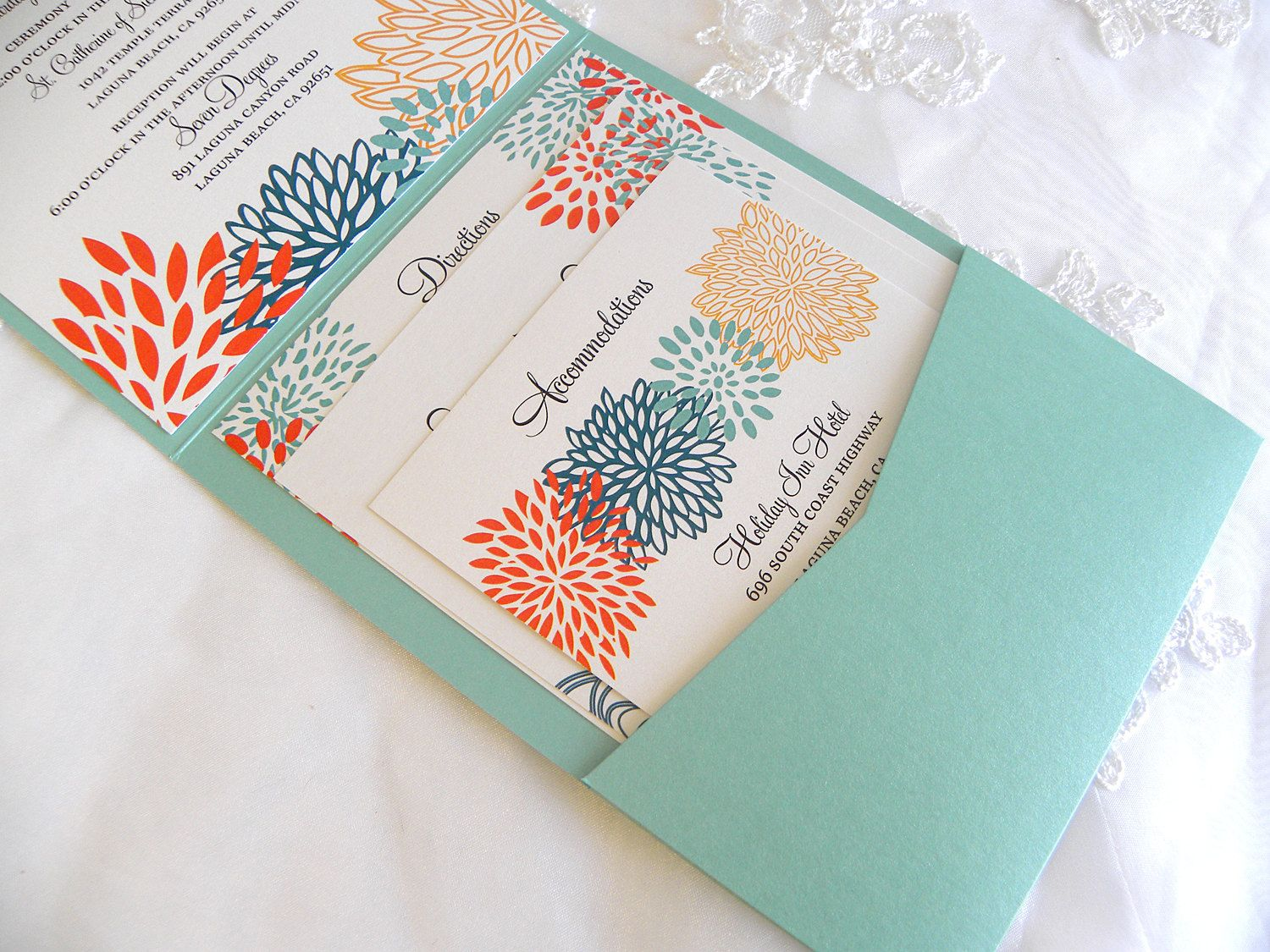 Wedding Invitations Handmade: Obsessed! Aqua Teal Orange And Yellow Floral Pocket