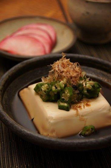 Hot Dashi Broth Tofu with Okra Slice and Katsuobushi (Japanese Dried Bonito) 温奴