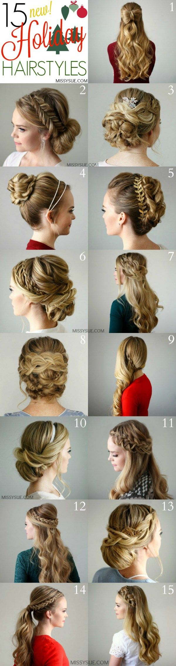 15 holiday hairstyles | women's world | hair styles, hair