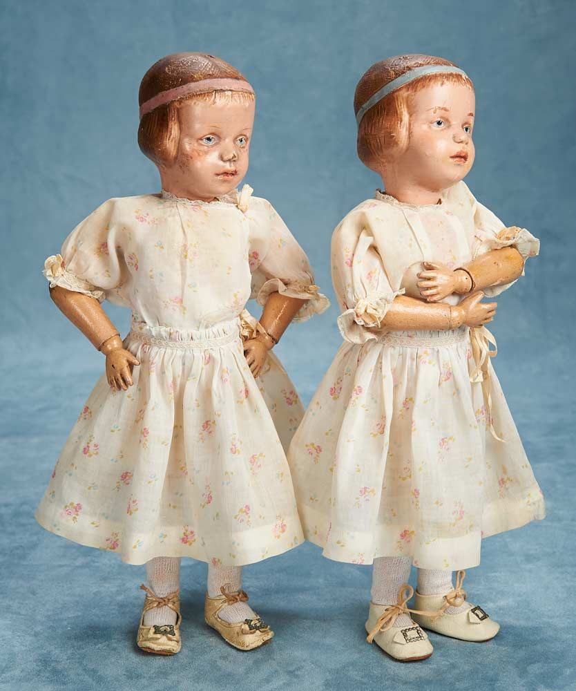 American Wooden Twin Dolls,Model 105,Schoenhut Doll HouseBobbed Hair,Bands