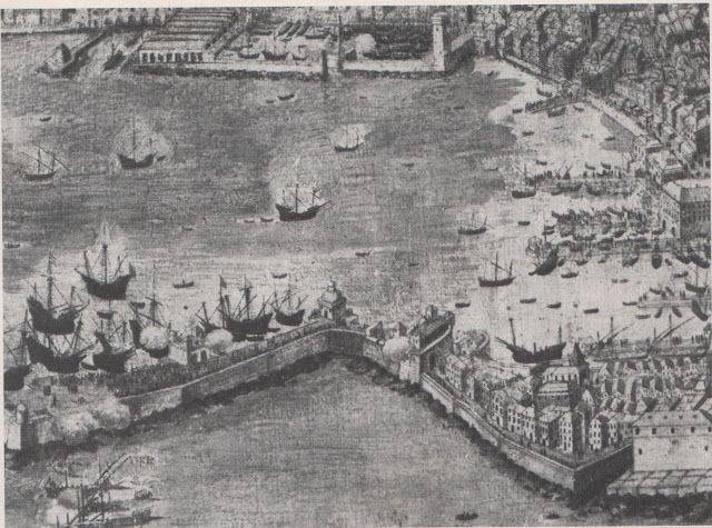 "C'ERA UNA VOLTA GENOVA - 1600 - ""Civitas Janue"" - oil paint by G. Bordoni - Particular of the port of Genoa in year 1600.  In the upper part see the military ""Arsenal"" and ""Darsena"" . In the right side the commercial port.  In the lower part see the ""Molo Vecchio"", that sheltered the port from south winds."